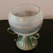 GLASS CANDLE HOLDER Frosted Decorative Sphere with Brass Metal Stand image 2