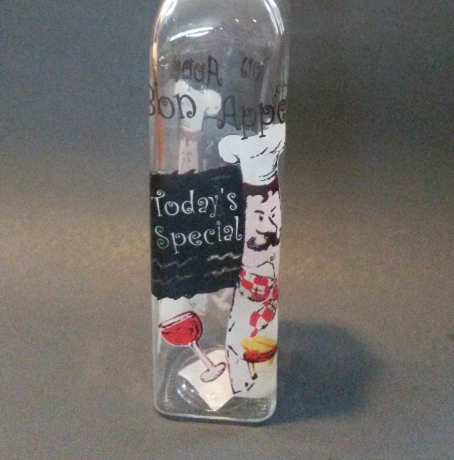 FAT CHEF OIL VINEGAR DISPENSER Glass Bottle Cruet Bon Appetit NEW