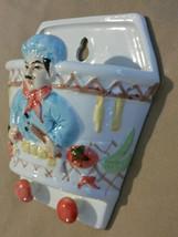 FAT CHEF HANGING POT Vegetables Ceramic Wall Hanger Key Chain Holder NEW image 3