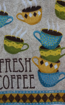"""Kitchen Towels, Set of 2 """"Fresh Coffee"""" Cafe Cups Terry Cotton Bistro image 3"""