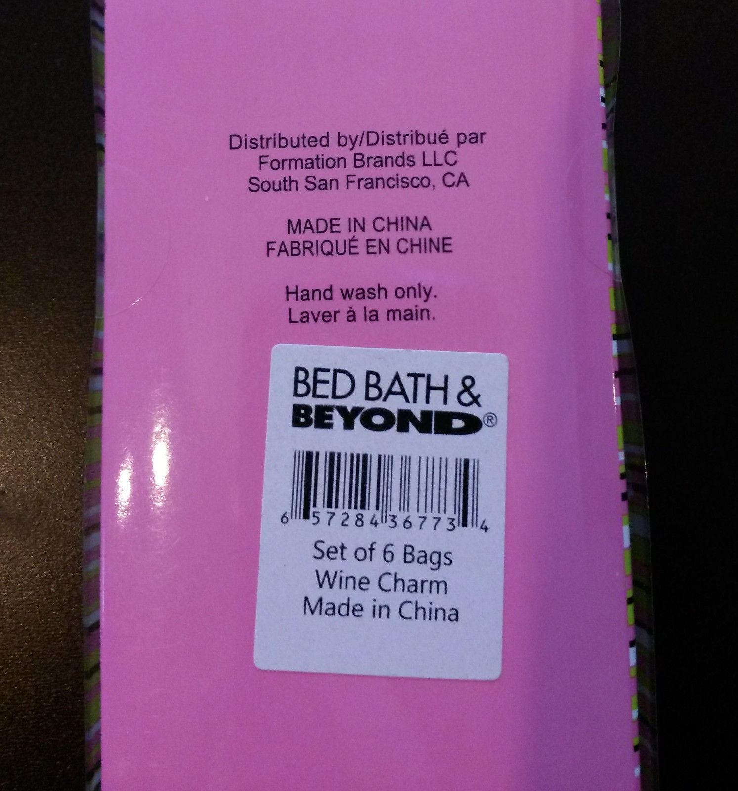 WINE GLASS CHARMS Box of 6 PURSES handbags bags fashion Bed Bath & Beyond NEW