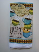 """Kitchen Towels, Set of 2 """"Fresh Coffee"""" Cafe Cups Terry Cotton Bistro image 2"""