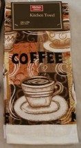 COFFEE KITCHEN TOWEL Brown Latte Cup Mocha Cafe Bistro Terry Tea Towel NEW - $5.99