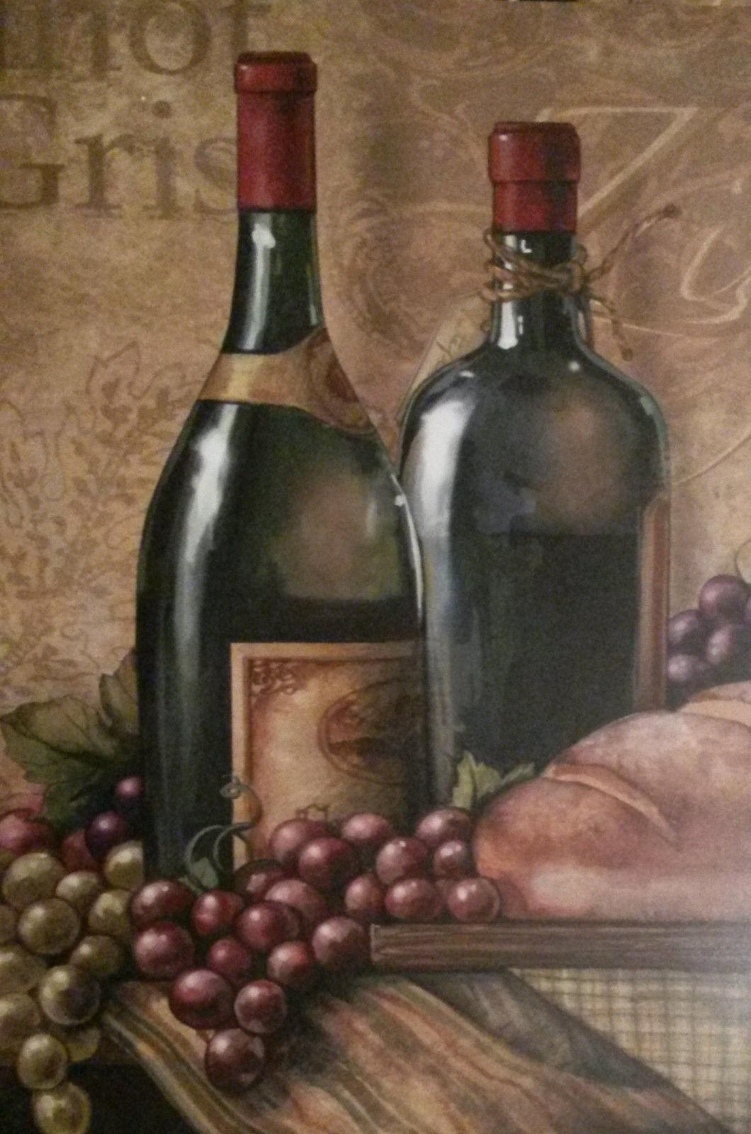 Wine Placemat 4-pc Set Zinfandel Pinot Gris grapes wine glass Plastic NEW