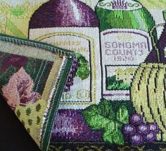 WINE TAPESTRY PLACEMATS Set of 4 Sonoma Vineyard Purple Green Fabric 13x19 NEW image 4