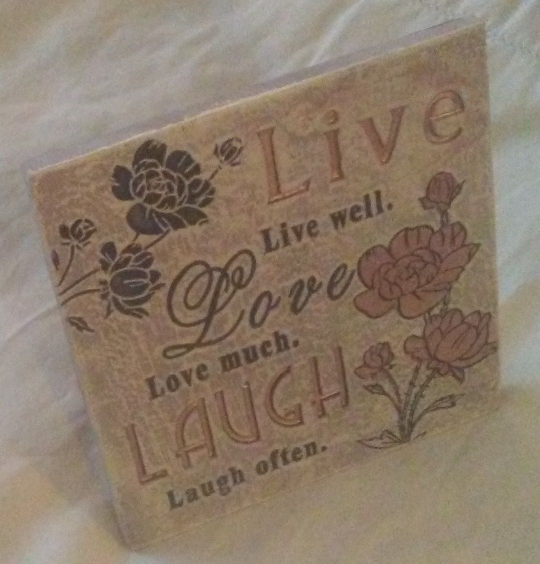 "LIVE LOVE LAUGH PLAQUE Sign 4"" Ceramic NEW"