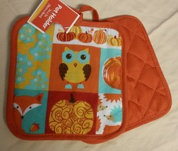 KITCHEN POTHOLDERS MITT TOWEL SET 4-pc Harvest Owl design NEW image 2