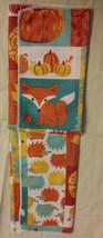 HARVEST ANIMALS TOWEL SET of 2 Orange Pumpkin Owl Fox Fall Decor NEW image 3