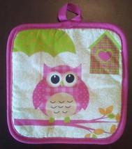 Owl Oven Mitt and Potholder 2-pc Set Pink Bird Umbrella Heart Birdhouse NEW image 3