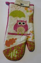 OWL OVEN MITT SET 2-pc Pink Bird with Umbrella NEW image 2