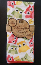 OWL KITCHEN TOWELS Set of 4 Microfiber Colorful Owls Green Bird NEW image 2