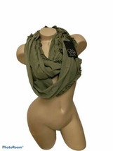 Chaser Olive Green Army Green Ruffle Knit Infinity Scarf NWT New One Size  - $23.36