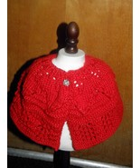 "Hand Knit  Red  Lacey Shawl for Popular 18"" Sof... - $15.00"