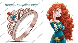 925 Sterling Silver Rose GP Round Multi-Color Merida Disny Princess Crow... - $67.99