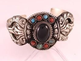 Huge Tibetan Onyx Turquoise Coral Gemstone Carved Big Dorje Amulet Cuff Bracelet - $16.88