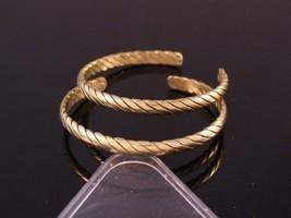 Two Beautiful Tibetan 4 Brass Strands Delicately Braided Amulet Cuff Bra... - $8.86