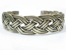 Wide Tibetan 4 White Copper Strands Delicately Braided Amulet Cuff Bracelet - $10.64
