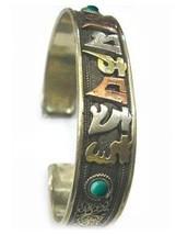 Big Tibetan 3-color Copper Lotus Filigree Turquoise OM Mani Amulet Cuff ... - $15.10