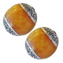 Pair Comparatively Big Beeswax Amber 925 Sterling Silver Repousse Amulet... - $7.40