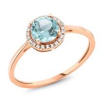 10K Rose Gold Diamond Engagement Ring Round Sky Blue Topaz 1.12 cttw - $244.79