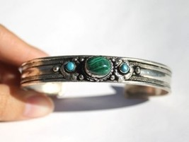 Tibetan Malachite Garnet / Coral 3 Gemstone Dorje Amulet Cuff Bracelet - $9.75
