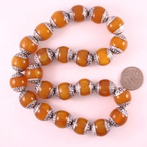 Wholesale 10 Big Nepal 20X18mm Beeswax Amber 925 Sterling Silver Repouss... - $28.78