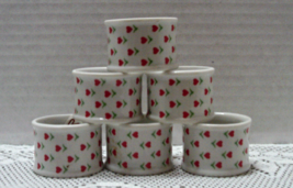 Vintage KNOBLER Porcelain HEART DESIGN Napkin Rings Vintage Table Ware - $12.00