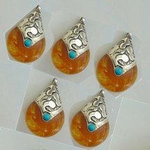 Wholesale 5 Big Turquoise Beeswax Amber 925 Sterling Silver Amulet Penda... - $29.66