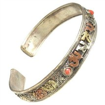 Delicate Tibetan Lotus Filigree Red Coral Carved OM Mani Amulet Cuff Bracelet - $13.32