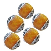 Wholesale 5 Big Nepal Beeswax Amber 925 Sterling Silver Repousse Amulet ... - $15.25