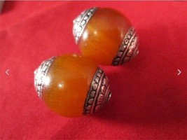 Pair Big Nepal 20X18mm Beeswax Amber 925 Sterling Silver Repousse Amulet... - $8.05
