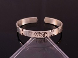 Solid Tibetan 925 Silver Plated Delicately Carved Mantra OM Amulet Cuff Bracelet - $7.08