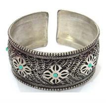 Huge Tibetan Filigree 7 Turquoise Gemstone VAJRA Dorje Amulet Cuff Bracelet - $17.05