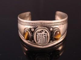 Huge Tibetan 2 Big Tiger Eye Gemstone Carved Kalachakra Amulet Cuff Bracelet - $19.71
