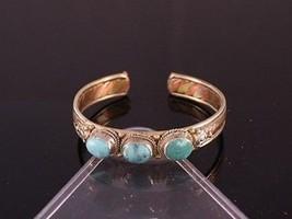 Adjustable Tibetan 3-color Copper 3 Big Turquoise Dorje Amulet Cuff Bracelet - $15.10