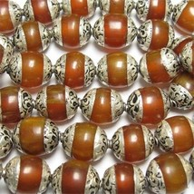 Wholesale 10 Tibetan 12X10mm Sterling Silver Repousse Beeswax Amber Amul... - $17.95