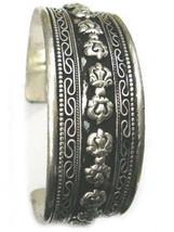 Huge Tibetan Filigree Threads Carved 10 Double Vajra Dorje Amulet Cuff Bracelet - $11.65