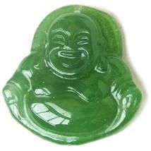 Tibetan Delicately Carved Emerald Jade Happy Buddha Amulet Pendant - $5.30