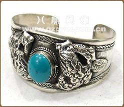 Huge Tibetan Big Turquoise Gemstone Carved 2 Spiral Dragon Amulet Cuff Bracelet - $24.90