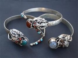 Tibetan Moonstone Turquoise Coral Gemstone Carved Dragon Amulet Cuff Bracelet - $15.99