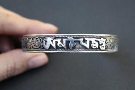 Tibetan Delicate Lotus Filigree Mantra OM Mani Padme Hum Amulet Cuff Bracelet - $9.86