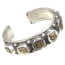 Huge Solid Tibetan Carved Golden OM Mani Padme Hum Dorje Amulet Cuff Bracelet - $13.45