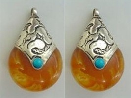 Pair Tibetan Turquoise Sterling Silver Repousse Cap Amber Pendants Beads - $11.66