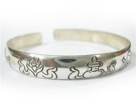 Solid Tibetan 925 Silver Plated Carved 8 Auspicious Symbol Amulet Cuff Bracelet - $5.53