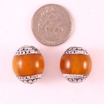 Pair Big Tibean 20X18mm Beeswax Amber 925 Sterling Silver Repousse Amule... - $7.15