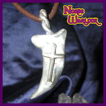 Magick Silver White Wolf Claw w Cross of Protection Prosperity & Wealth! haunted - $299.99