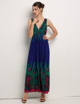 Women's Bohemian Peacock Tail Hawaiian V-neck Long Beach Dress (Blue) - $21.95