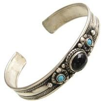 Tibetan Onyx Turquoise   Red Coral 3 Gemstone Sacred Dorje Amulet Cuff Bracelet - $16.95