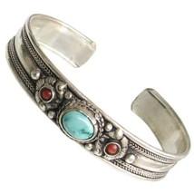 Big Tibetan Turquoise Garnet Coral 3 Gemstone Carved Dorje Amulet Cuff Bracelet - $16.95