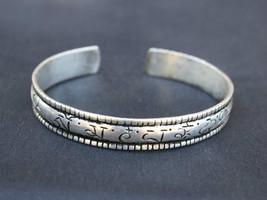 Solid Tibetan Silver Plated Carved Lotus OM Mani Padme Hum Amulet Cuff Bracelet - $8.05